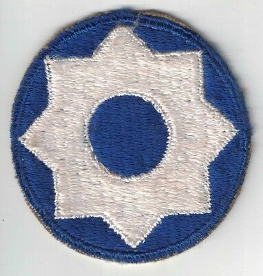 WWII US Army 8th Service Command SSI Patch Cut Edge