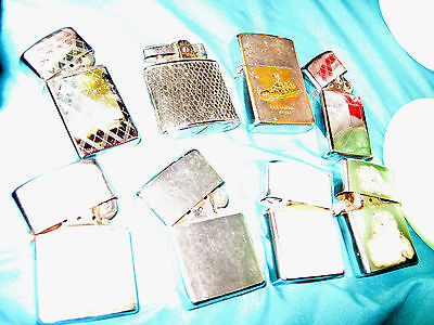 Vintage Lot of 8 Zippo Lighter Lot Mostly From 1960's Good Condition