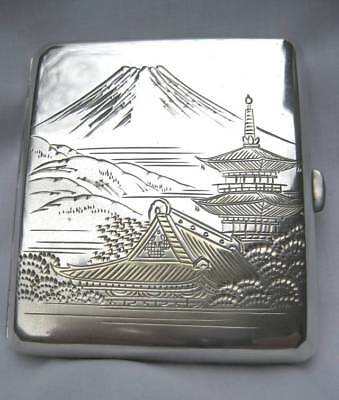 Large Vintage Japanese 950 Sterling Silver Mt. Fuji Scenic Cigarette Case Box