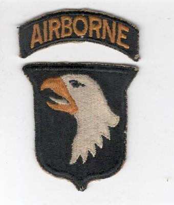 WW 2 US Army 101st Airborne Division White Tongue Patch & Tab Inv# X142