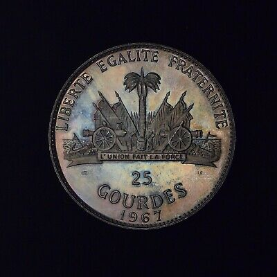 1967 Republic Of Haiti 25 Gourdes Large Silver Proof Coin / Attractive Toning