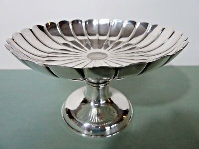 Solid Silver Compote W/ Fluted Bowl In Form Of A Flower Blossom