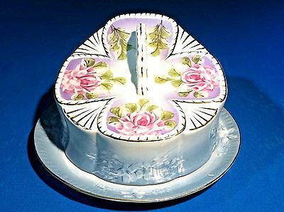 Antique Large Victorian Porcelain Covered Cheese Butter Tray Dish Roses Embossed