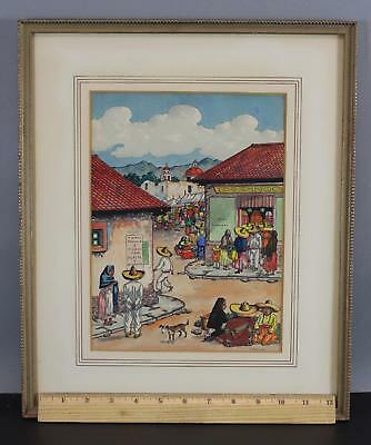 Vintage Signed Mexico Mexican Village Illustration Cartoon Watercolor Painting