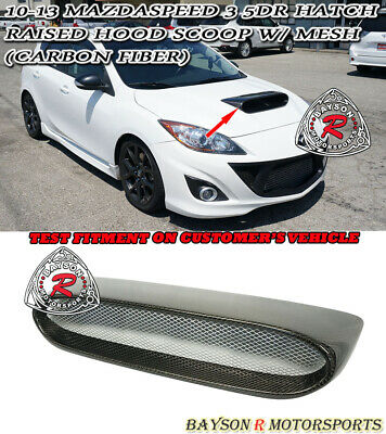 Raised Hood Scoop (Carbon) w/ Mesh Fits 10-13 MazdaSpeed 3 5dr (Hatchback)