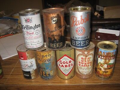 8 Old Flat Top Beer Can Collection CHECK IT OUT NO RESERVE