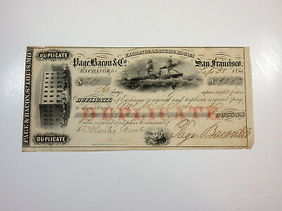 Page & Bacon St. Louis MO Duplicate $2000 Exchange/Check from 1855 Sailing Ship