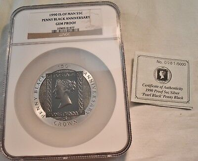 1990 Isle of Man S5C NGC GEM PROOF Penny Black Anniversary 5 oz. Silver Crown