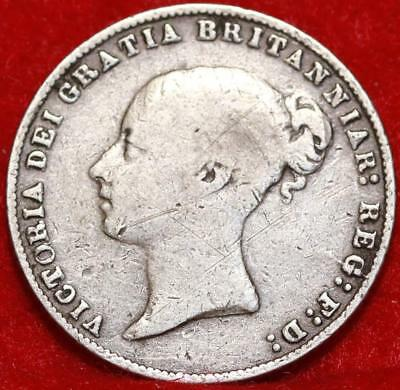 1866 Great Britain 6 Pence Silver Foreign Coin Free S/H