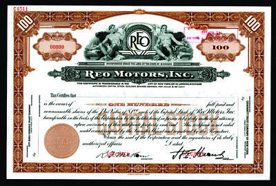 REO Motors, Inc. Michigan ca.1920-40's SPECIMEN 100 Shares Stock Cert ABNC XF