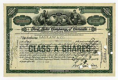 Ford Motor Company of Canada, 1931 Issued Stock Certificate