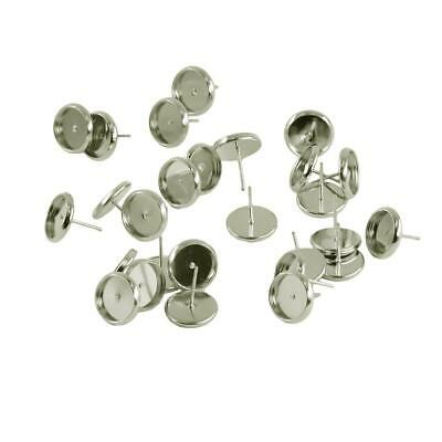 24Pcs 10mm Blank Round Pad Stud Earring Post Pin DIY Jewelry Making Findings