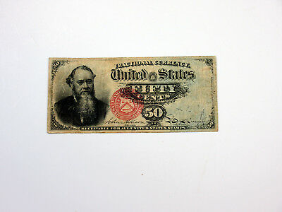 U.S. Fractional Curr. 4th Issue 50cts, Green Back Stanton VF, Nice Centering