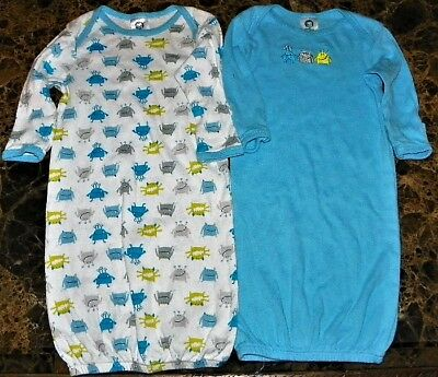 """NEW"" Gerber ~ Lot of 2 ALIENS Sleeper NIGHT GOWNS ~ Infant Sz NB - 6M 6 Month"