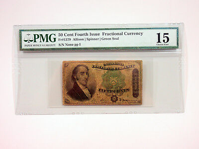 U.S. Fractional Curr. 4th Issue 50cts Fr.#1379 Green Seal PMG Choice Fine 15