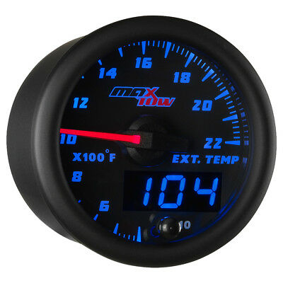 52mm Black & Blue MaxTow Double Vision 2200 F Exhaust Gas Temp Gauge - MT-BDV08