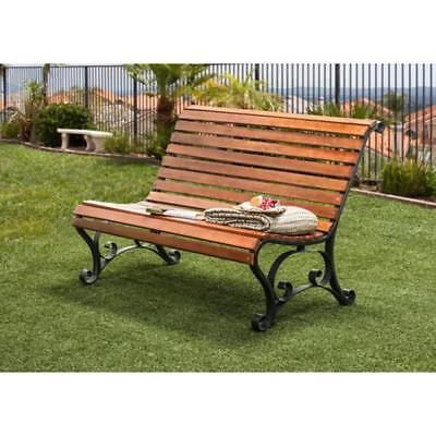 Cast Iron and Hardwood Slatted Outdoor Garden Bench Curved Seat and Back