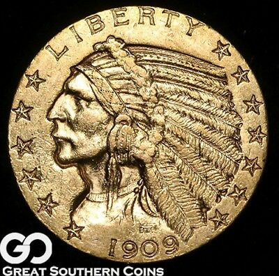 1909-D Half Eagle, $5 Gold Indian ** Free Shipping!