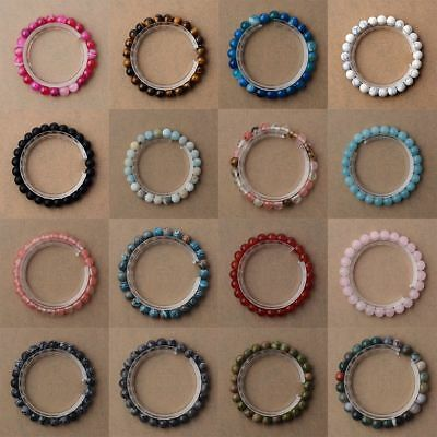 8mm Handmade Mixed Natural Gemstone Round Beads Stretchy Healing Reiki Bracelets