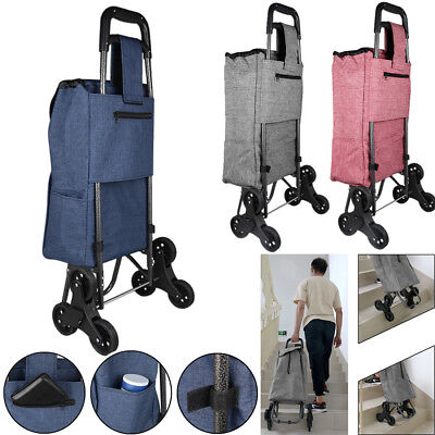Stair Climb Rolling Folding Shopping Trolley Cart Bag fr Grocery Climber Laundry