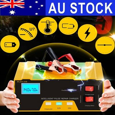 AU 12V/24V Auto Car Charger 100AH Pulse Repair For Lead Acid Lithium Battery