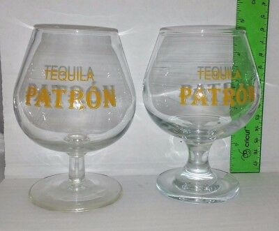 2 Tequila Patron Snifter Glass Used