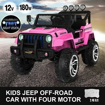 Kids Ride on Car Remote Control Electric Off Road Truck Jeep with Built-in Songs