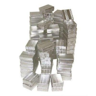 """100 Silver Foil Cotton Filled Jewelry Gift Boxes 2 1/8"""""""