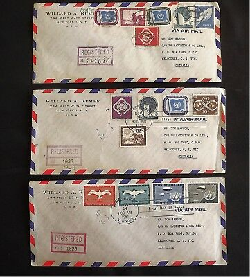 UNITED NATION 1951 FDC's - 1ST ISSUE OF STAMPS REGISTERED & POSTED TO AUSTRALIA