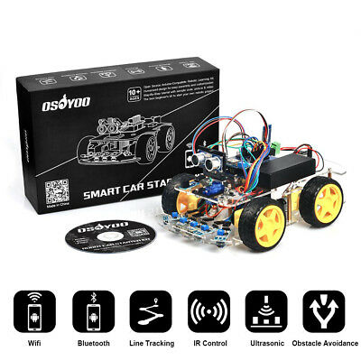 US Robot Car Kit for Arduino Starter 4WD Bluetooth Tracking Gift Open Source