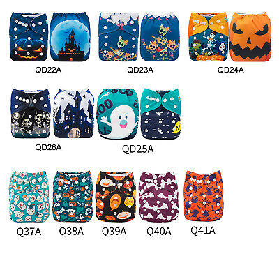 ALVABABY Cloth Diapers OneSize Reusable Pocket Nappy +Bamboo Insert