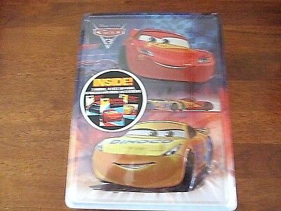 DISNEY PIXAR CARS: SUPERB Box Tin:3 Books, Markers, Poster & Stickers NEW/SEALED