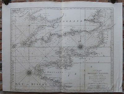Antique Print-SEA CHART-CHANNEL-ENGLAND-FRANCE-Jefferys-Sayer-1775
