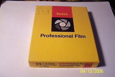Kodak PLUS-X Pan Professional Film - 25 sheet box - 4147 Thick - Exp 1972 - 4x5""
