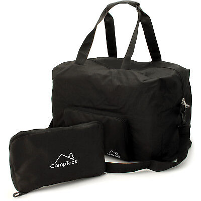 Black 38L Folding Travel Duffle Bag Foldable Holdall Bag Hand Luggage Gym Sport