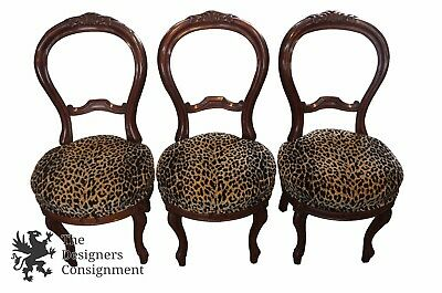 3 Victorian Balloon Back Carved Mahogany Parlor Occasional Side Chairs Leopard