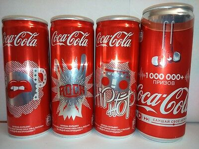 Coca Cola New  set of 4 cans  from Russia  Limited Edition Music Summer 2017