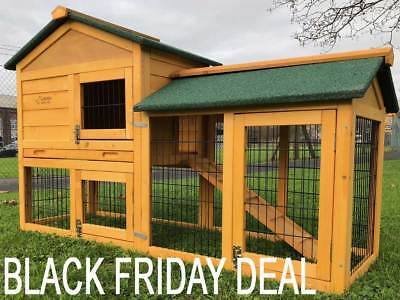 5Ft Outdoor Rabbit Hutch And Run With 2 Two Tier Wooden Guinea Pig Bunny Pet