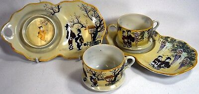 A Pair Of Vintage Japanese Porcelain Snack Set Hand Painted with Japanese Ladies