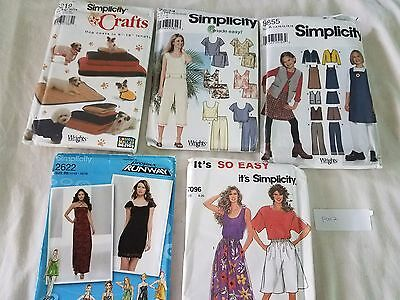 Sewing Patterns Mixed Lot of 5 Simplicity Runway Complete P012 Free Ship
