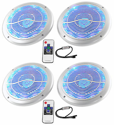 """(4) Rockville RMC65LS 6.5"""" 1200w Silver Marine Speakers/Multi Color LED+Remote"""