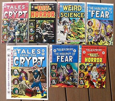 Golden Age / EC HORROR reprinted in eight 1984-91 #1 issues; pristine NM 9.4 ave