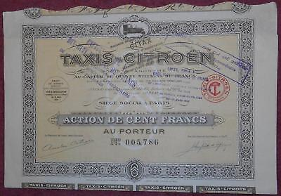31814 FRANCE 1924 Taxis - Citroen 100 Franc share certificate -attractive