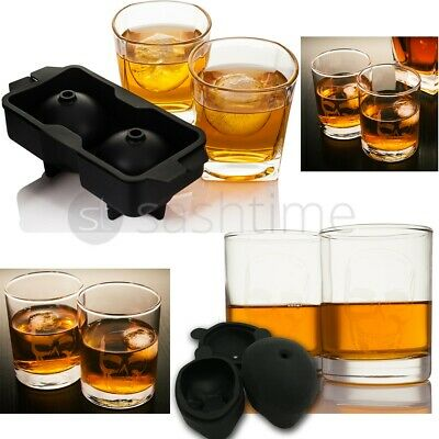 2 x WHISKEY GLASSES GIFT GLASS SET W ICE BALL / SKULL CUBE MOULD WHISKY TUMBLERS
