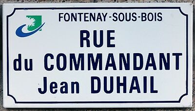 Old French enamel street sign road name plaque Jean Duhail Paris Nazi victim
