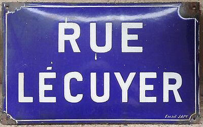 Old French enamel street sign road name plaque Rue Lecuyer Saint-Ouen Paris Japy