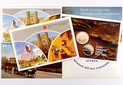 1971 - 1986 Royal Canadian Mint 6 Uncirculated Coin Sets - Original Envelopes