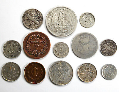 1882 - 1904 Mexico Second Republic Coin Lot - 13 Coins - Silver Included!