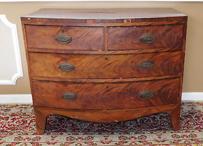 Antique Mahogany Late 18th Century English Georgian Bow Front Chest Of Drawers