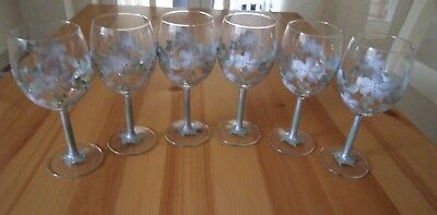 Set of Six Hand Painted Silver and Green Glitter Flower Wine Glasses